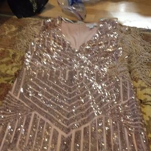 F21 rose gold sparkle dress
